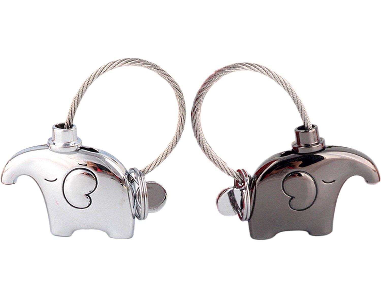 Kanggest 1 pièce Porte-clés en Alliage Pendentif éléphant Porte Clef pour Femme Sac Porte Cle pour Voiture/Téléphone/Mariage/Pochette(Noir)