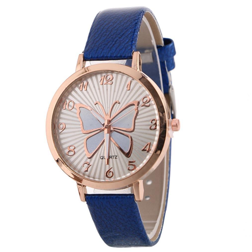 クリアランスレディースバタフライウォッチクリエイティブパターンQuartz Watchレザーストラップベルトテーブル時計 B079ZJTRHV ブルー