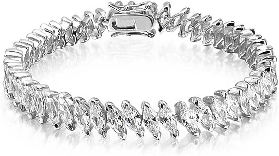"925 Sterling Silver Cubic Zirconia CZ Line Tennis Bracelet Gift 8/"" Cttw 3.3"