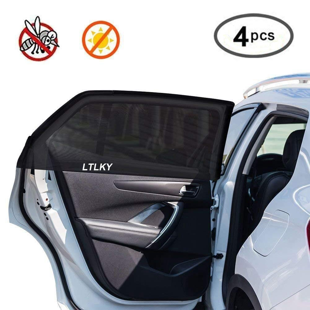 4 Pack Car Window Shades for Baby & Pets, Front and Rear Side Car Sun Shades, Block Harmful UV, Anti-Mosquito, Universal Fit! DXTXKJ