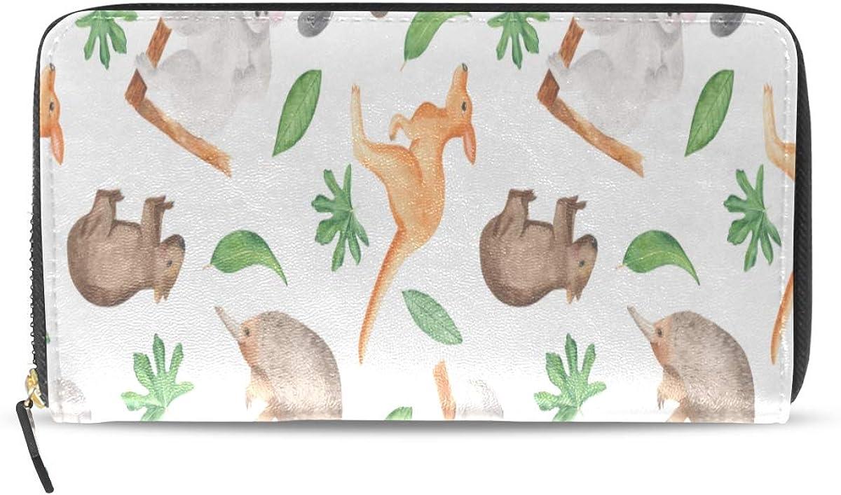 Kalamazoo Kangaroo Australia largo pasaporte embrague monederos cremallera monedero bolso bolso organizador de dinero titular de la tarjeta de crédito para dama mujer niña hombres regalo de viaje