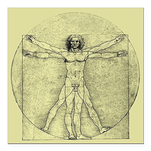 (Square Car Magnet 3 x 3 Inch Vitruvian Man by Da Vinci)