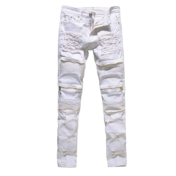 NUWFOR Pantalones de mezclilla ajustados y elásticos para ...