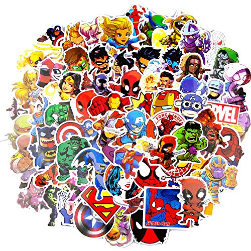 Laptop Stickers(100pcs),Superheros Computer Stickers for Water Bottles,Vinyl Stickers for Laptop Skateboard Luggage Decal Graffiti Patches Stickers in Bulk ()