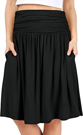 Simlu Womens Regular and Plus Size Skirt with Pockets Below The Knee Length Ruched Flowy Skirt Midi Skirt for Women