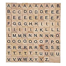 Wooden Alphabet Letters Scrabble Tiles Set / DIY Letter Crafts For Children Kids Student(100PCS)