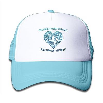 SDRG5 Nurse Doctor Injections Heart Love Space Blue Child Baby Kid Adjustable Trucker Hat Summer Baseball Cap