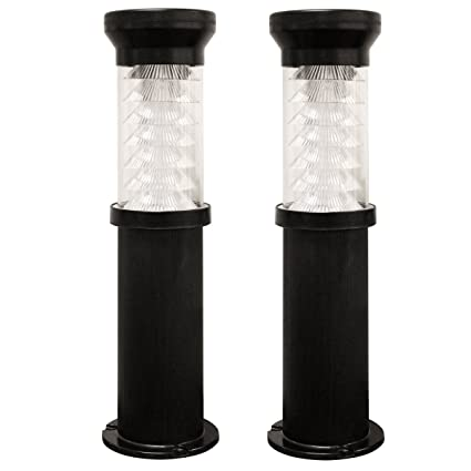 amazon com gama sonic 2 pack bollard outdoor solar light gsg2 127ez