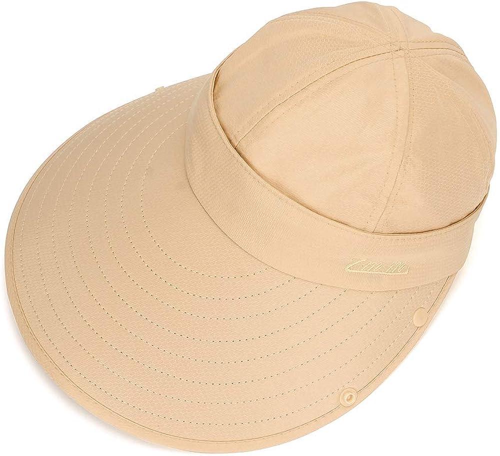 breite Krempe Sonnenschutzkappe mit abnehmbarem Gesichtsschutz und Nackenklappe MK Matt Kiely Unisex 3-in-1 Multifunktions-Hut f/ür Damen und Herren faltbar