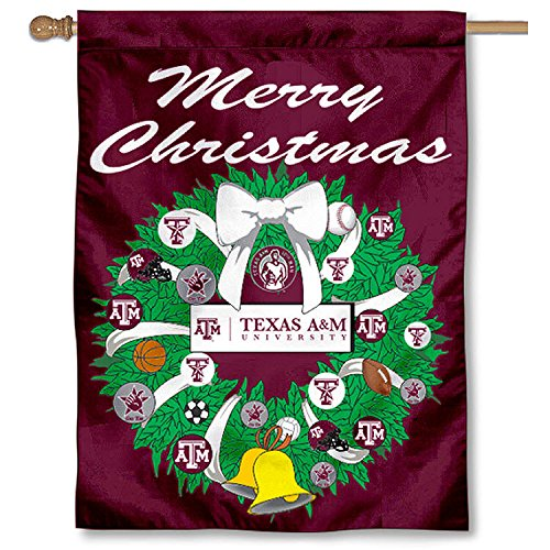 Texas A&M Aggies Merry Christmas Wreath Banner Flag