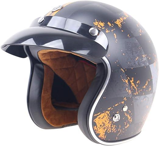 Amazon.es: Casco de moto abierto, casco retro personalizado