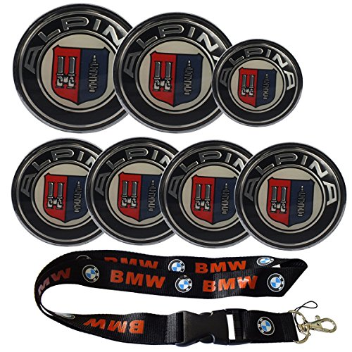 New 1pcs BMW Keychain Lanyard Badge Holder + 7pcs set Front Emblem/trunk Emblem/steering Wheel Caps Car Steer Wheel Center Cap Emblem Auto Wheel Hub Logo Cover Alpina for BMW (45mm/68mm/74mm/82mm)