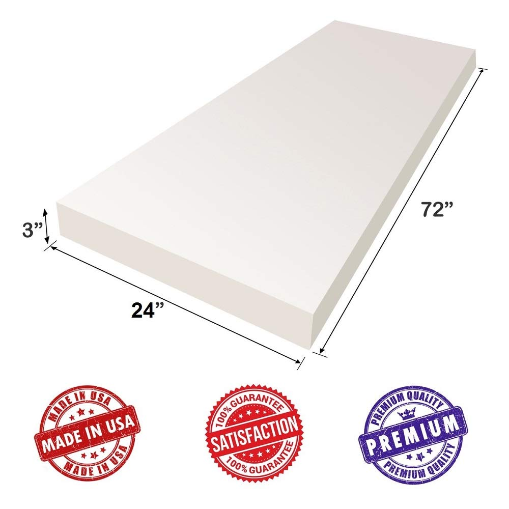 Mattresses Doctor Recomended for Backache /& Bed Sores- Dream Solutions USA Wheelchair 2.5 lb Density- Luxury Quality- Good for Sofa Cushion Upholstery Visco Memory Foam Sheet- 3Hx24Wx72L