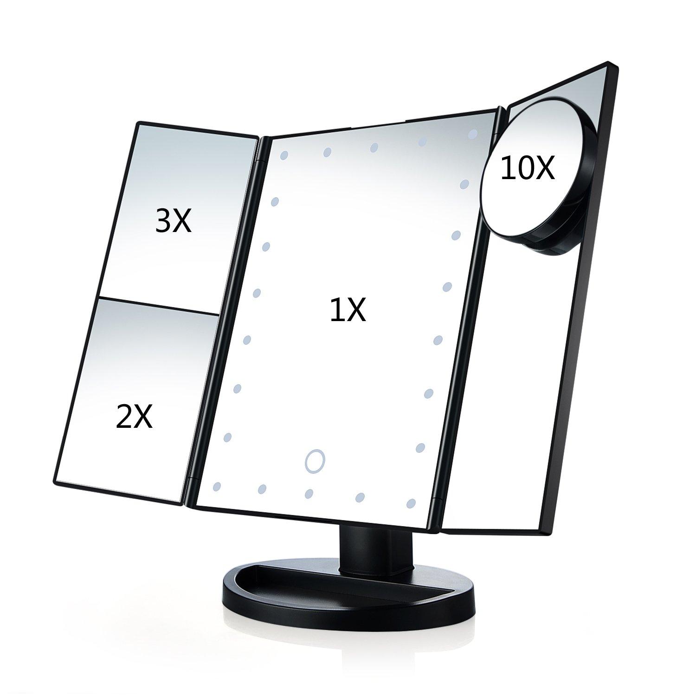 Specchio per trucco triplo da tavolo, illuminato da 22 LED, con touchscreen, supporto regolabile a 180°, doppia modalità di alimentazione, da viaggio White (nero)