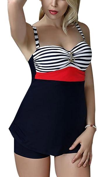 805be74fbeb3 FEOYA - Bañadores Mujer Talla grande Traje de Baño de 2 piezas Estampado  Rayado Ropa de Natación Vintage Retro Tankinis Swimsuit para Playa - Rojo  ...