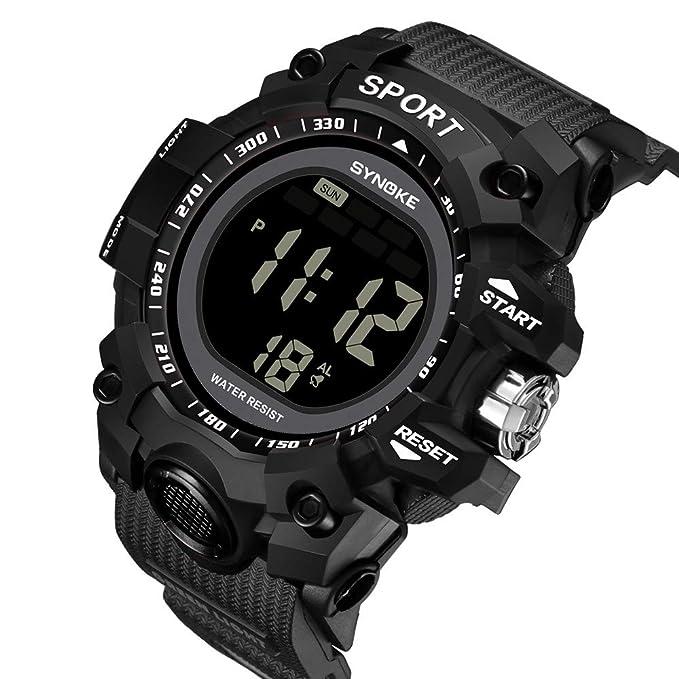 Reloj deportivo, impermeable, precisa hora, unisex, anillo ajustable brazalete de acero inoxidable,Reloj multifuncional impermeable a prueba de agua de 30M, ...