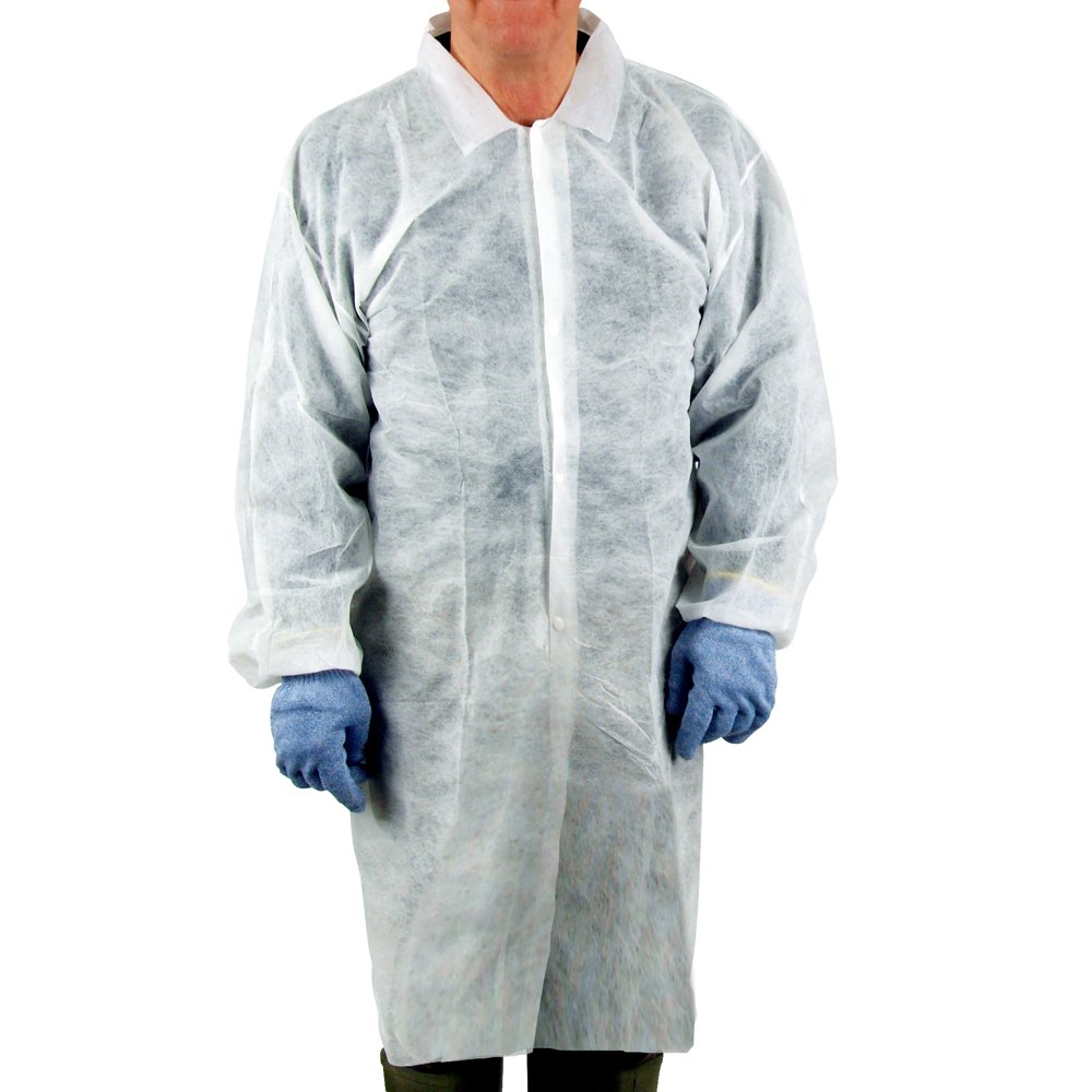 UltraSource Disposable Poly Lab Coats, Large (Pack of 30)