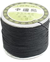 sourcingmap® Nylon Chinese Knotting Beading Thread Rat Tail String 150M 1mm Black