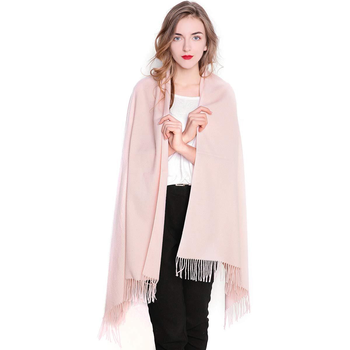REEMONDE Womens Super Soft Long Shawl Solid Colors Warm Pashmina Big Scarf (Light pink)