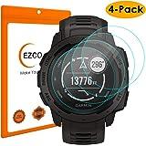 EZCO Compatible Garmin Instinct Screen Protector (4-Pack), Waterproof Tempered Glass Screen Protector Cover Saver Compatible Garmin Instinct Smart Watch [Scratch Resist] [Anti-Bubble]