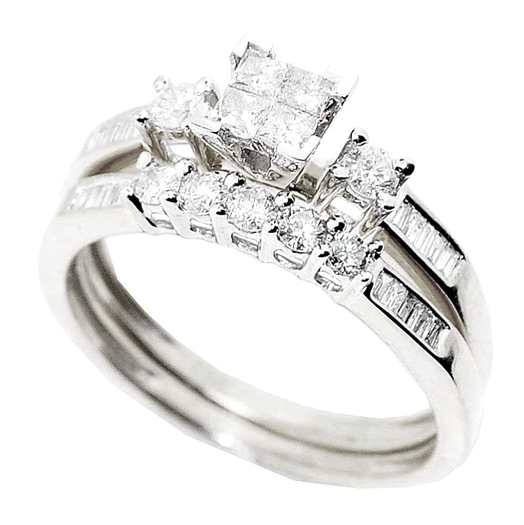 Amazon Midwest Jewellery Princess Cut Diamond Wedding Rings Set 10k White Gold 058cttw Midwestjewellery Jewelry: Types Of Wedding Rings Princess Cut At Websimilar.org