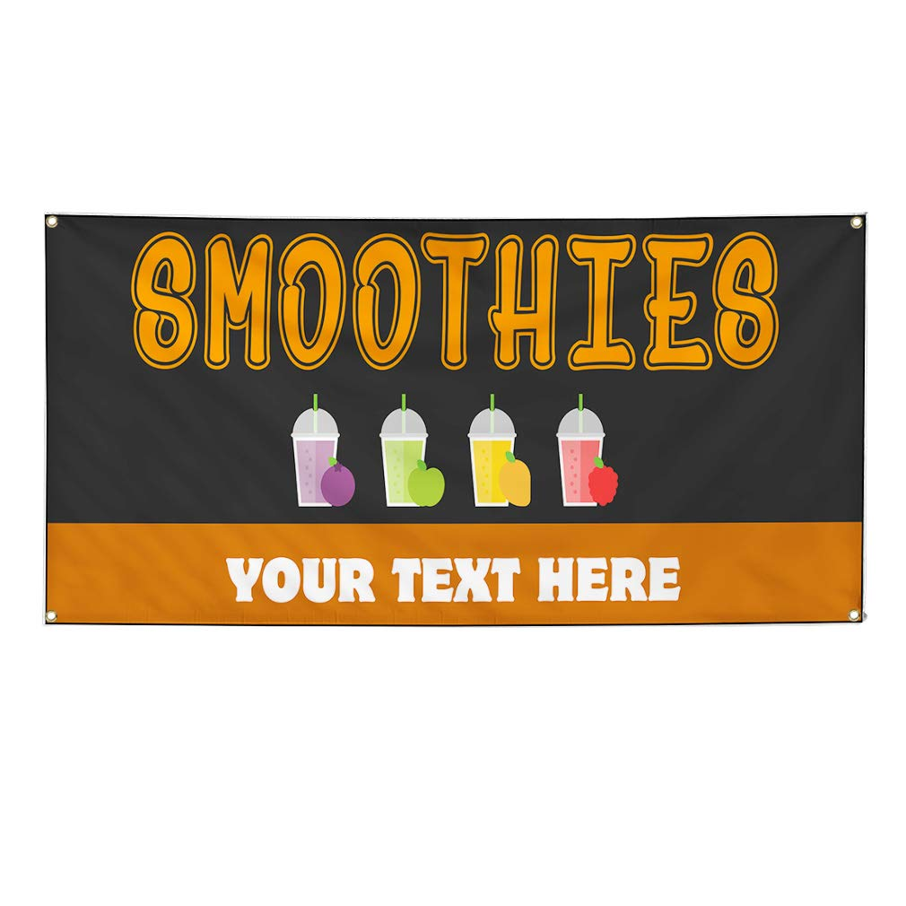 Custom Industrial Vinyl Banner Multiple Sizes Smoothies Style A Personalized Text Here Funny and Novelty Outdoor Weatherproof Yard Signs Orange 4 Grommets 24x60Inches