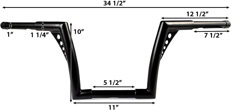 Fat 1 1//4 Ape Hanger Bar Compatible with Harley Fat Boy FLFB 2018-2019 Krator 1.25 Black Handlebar with 10 Rise