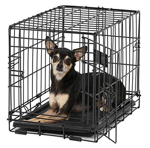 Package Puppy Crate Midwest (big_store Dog Crate iCrate XXS Folding Metal w/Divider Panel Floor Protecting Feet & Leak Proof Dog Tray 18 Length x 12 Width x 14 Height Inches Toy Dog Breed Black Easy Assembly & ebook by)