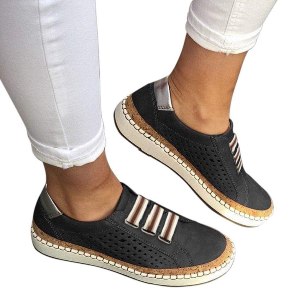 Mokassins Damen Plateau Loafer Espandrillos mit Keilabsatz 4cm Halbschuhe Flache Sneaker Wedge Atmungsaktiv Freizeit Schuhe Schwarz Gr/ün Rot Blau 35-43