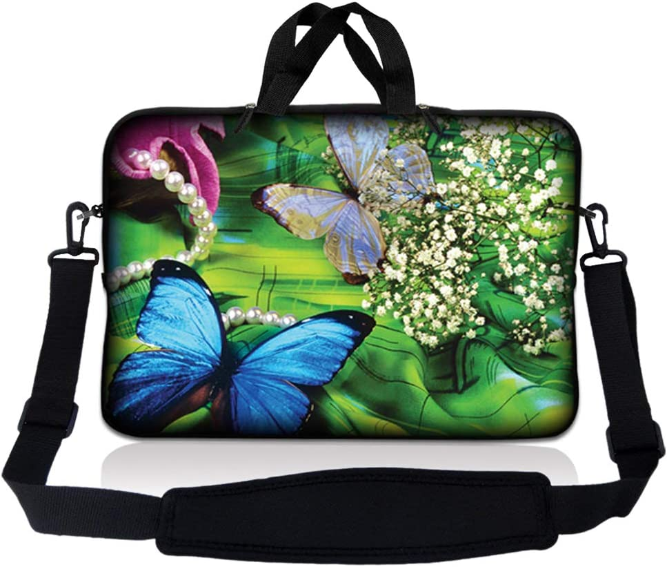 LSS 10 10.2 inch Laptop Sleeve Bag Compatible with Acer, Asus, Dell, HP, Sony, MacBook and more | Carrying Case Pouch w/ Handle & Adjustable Shoulder Strap, Butterfly Floral