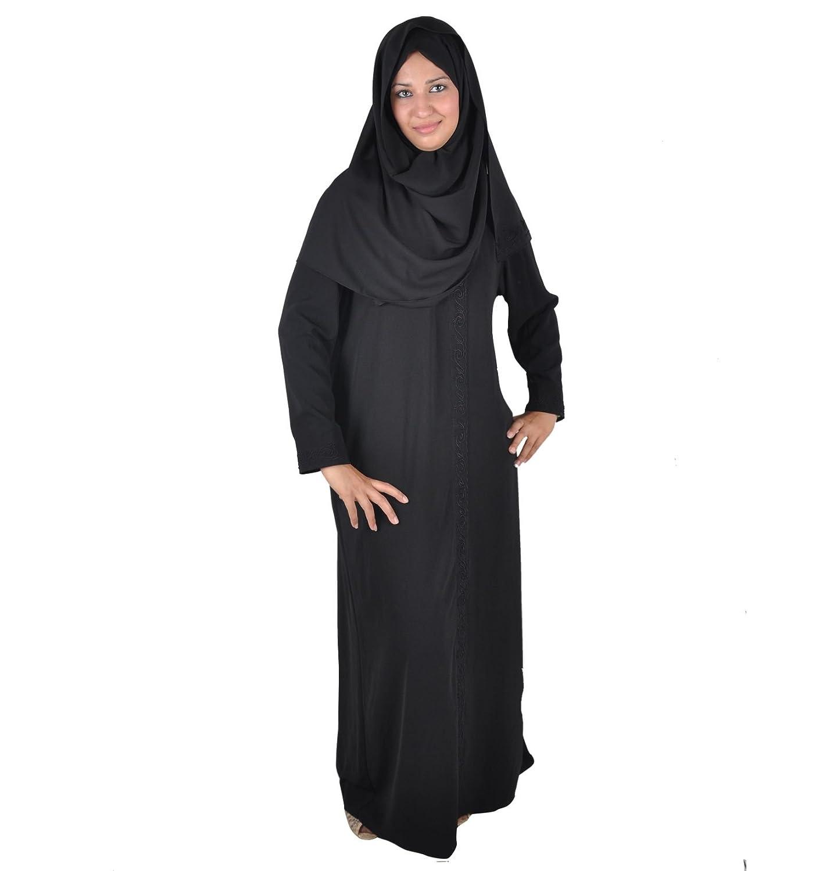 Egypt Bazar Klassische Abaya mit Kopftuch- Farbe: schwarz ABY00148