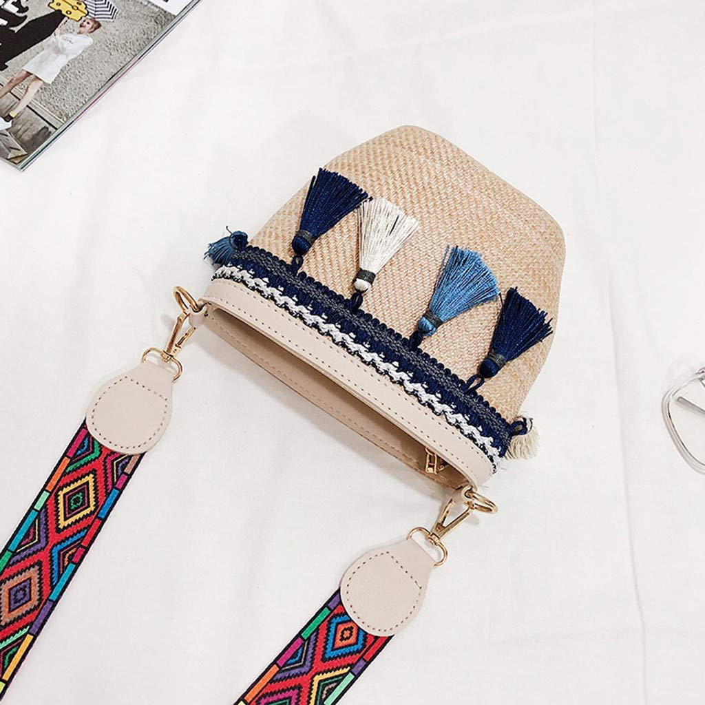 WORMENG La mode/Sac de paille Sac de plage Sac de messager/Style ethnique/Gland de ruban/Plage Vintage Voyage Femmes