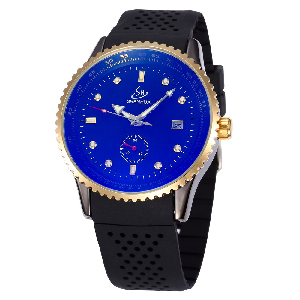 SHENHUAレトロ真鍮メンズスケルトン自動機械腕時計Burgundyバンド B06Y2VPCXF