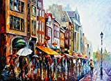 Amsterdam's Rain is a Limited Edition print from the Edition of 400. The artwork is a hand-embellished, signed and numbered Giclee on Unstretched Canvas by Leonid Afremov. Embellishment on each of these pieces will be slightly different, but the imag...