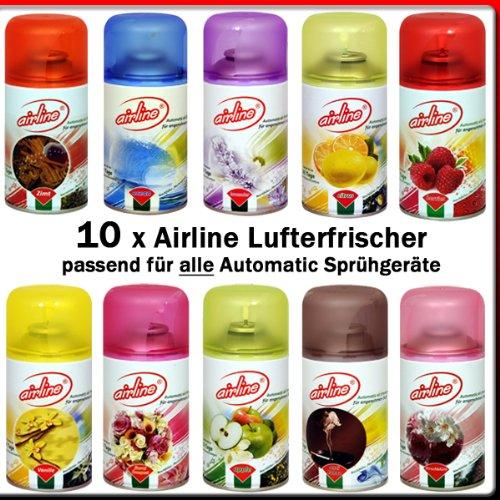 10 x Airline / Fresh Line (new) Lufterfrischer Mix für Airwick Fresh Matic 250ml (passend für alle Automatic Sprühgeräte)Zimt, Lavendel, Floral Bouqet, Citrus, Apfel, Vanille, Berries, Anti-Tabak, Ocean, Kirschblüte