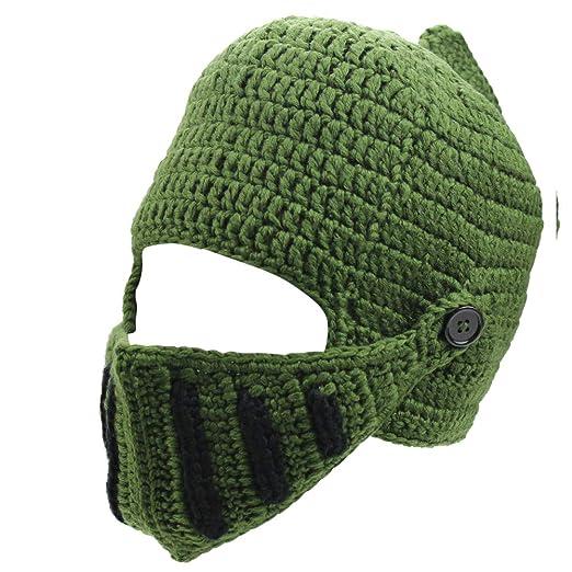 Mens Winter Crochet Knight Skull Slouchy Ski Beanie Removable Face