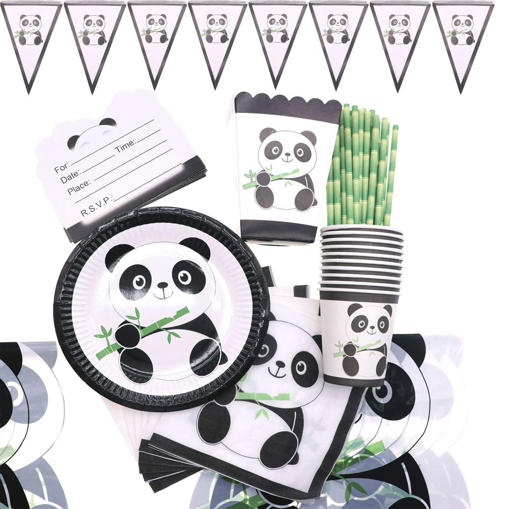 Panda Paper Plate Cup Napkins Disposable Tableware Baby Shower for Kids Birthday Party Supplies Party Gifting by DANNIDIWEI