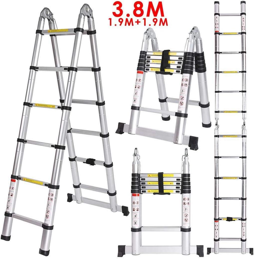 Buyi-World Escalera telescópica 3.8M de aluminio de hasta 150 kg, 12 pasos 1.9M * 1.9M Escalera plegable portátil extensible para el hogar, la oficina, el loft y la fábrica: Amazon.es: Hogar