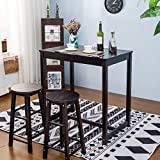 Merax 3-piece Dining Table Set High/Pub Table Set with 2 Bar Stools (3-piece Espresso)