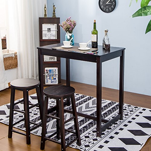 3-piece Dining Table Set High/Pub Table Set with 2 Bar Stools