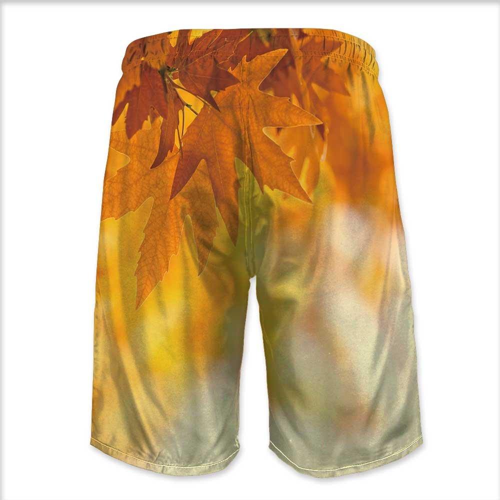 Printsonne Mens Swim Trunks,Autumn Leaves Quick Dry Board Shorts