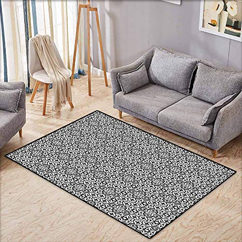 Indoor/Outdoor Rug,Black,Old Antique Kitchen Design Floor Tiles Inspired Royal Star and Flower Like Image,All Season Universal,5'6