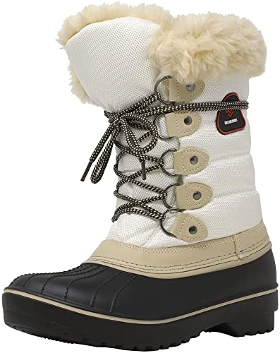 DREAM PAIRS Girls Winter Snow Boots Faux Fur Lined Mid Calf Shoes