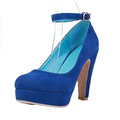 AgooLar Damen Mattglasbirne Schnalle Rund Zehe Hoher Absatz Rein Pumps Schuhe, Blau, 41