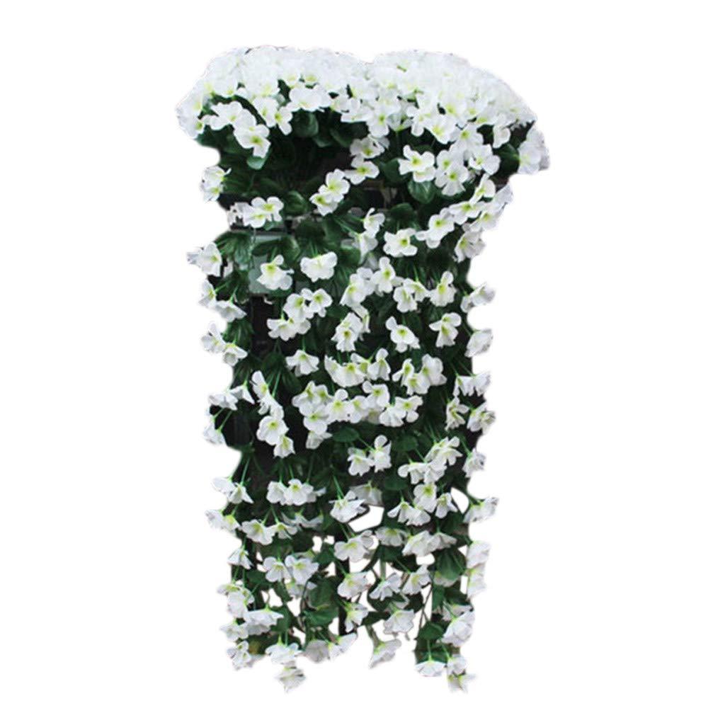 HANGUP H/ängende Blumen K/ünstliche Violette Blume Wand Glyzinien Korb H/ängen Garland Vine Blumen Gef/älschte Seide Orchidee Balkon Dekor