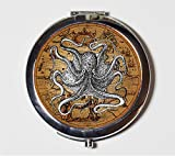 Victorian Octopus Map Compact Mirror Art Haeckel Nautical Steampunk Make Up Pocket Mirror for Cosmetics