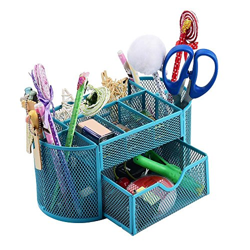 Jeash Storage Box ✿ Multi-Function Pen Pencils Mesh Holder Stationery Container Desk Tidy Organizer for Home School Office Decor (Blue) by Jeash (Image #1)