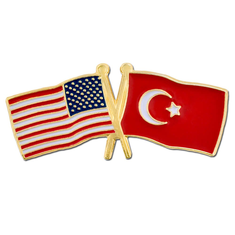 PinMart's USA and Turkey Crossed Friendship Flag Enamel Lapel Pin