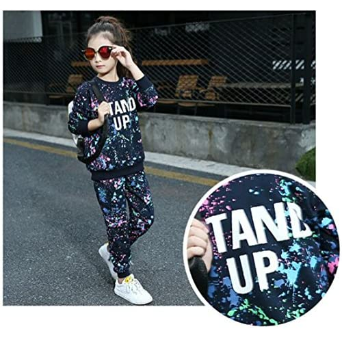 FTSUCQ Girls Crew Neck Graffiti Pattern Pullover Sports Set