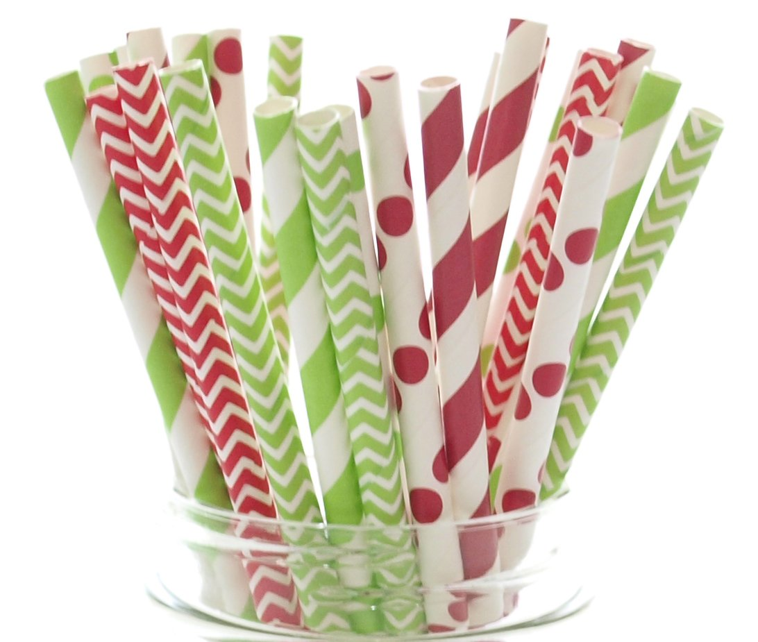 Christmas Straws (25 pack) - Red & Green Holiday Straws, Vintage Party Supplies, Santa Red & Elf Green Straws, December Christmas Straws